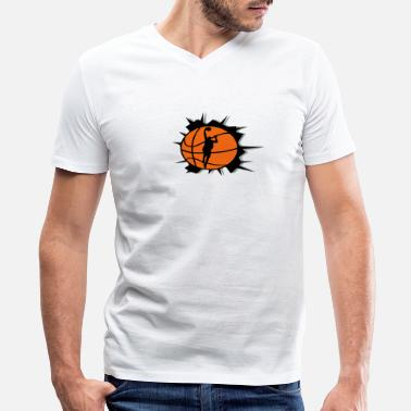 Crack In The Wall Basketball & Basketball Player & Crack - Men's V-Neck T-Shirt