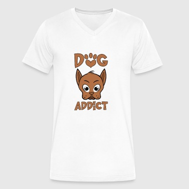 Addicted Dogs Dog addict - Men's V-Neck T-Shirt by Canvas