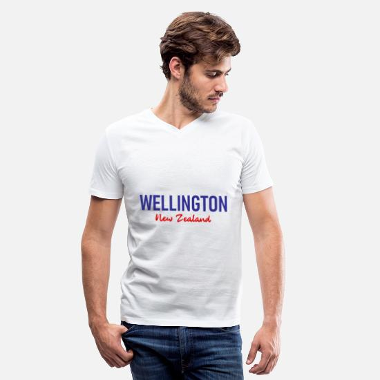 Cook T-Shirts - Wellington - New Zealand - Aotearoa - Kiwi - Maori - Men's V-Neck T-Shirt white