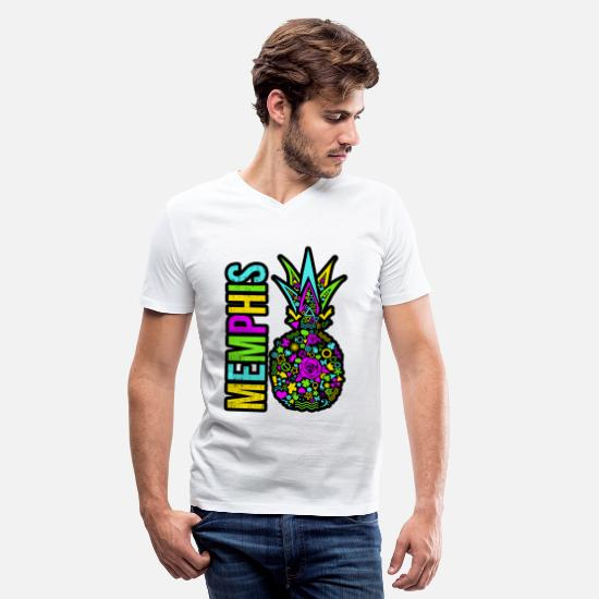 Colorcontest T-Shirts - Pineapple Summer Colors Tropical Retro Vintage Art - Men's V-Neck T-Shirt white