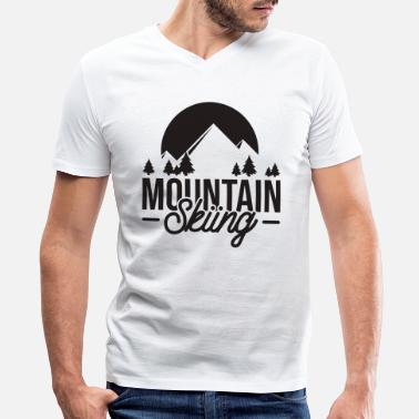 Ski Area Mountain Skiing ski gift alpine area vacation - Men's V-Neck T-Shirt by Canvas