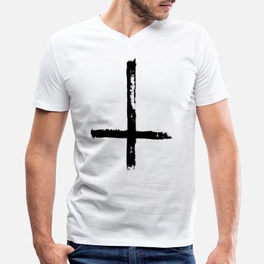 Satan Cross Large Black Satanic Cross - Men's V-Neck T-Shirt