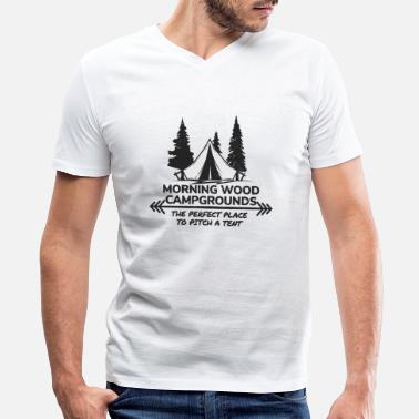 Pitch Morning Wood Campground Is Pefect To Pitch A Tent - Men's V-Neck T-Shirt
