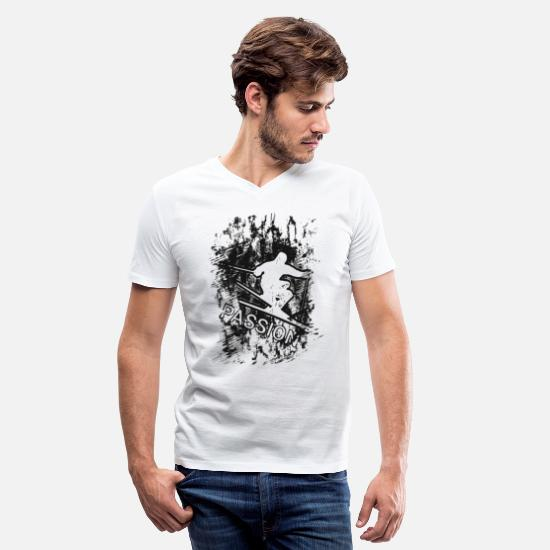 Sport Climbing T-Shirts - Passion Winter Sport Skiing Schifahren 2reborn - Men's V-Neck T-Shirt white