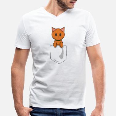 Ginger Kids Pocket Cat Ginger - Men's V-Neck T-Shirt by Canvas