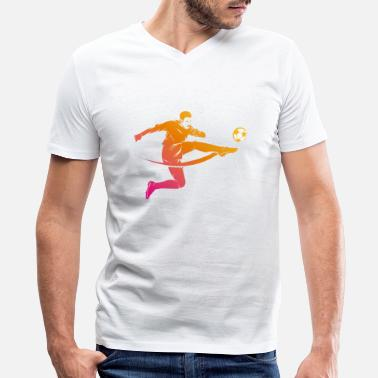 Shot On Goal Footballer volley shot on goal - Men's V-Neck T-Shirt