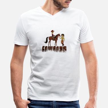 Indian Idaho indian cowboy - Men's V-Neck T-Shirt by Canvas