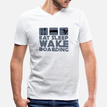 Wakeboard Eat Sleep Wakeboarding - Men's V-Neck T-Shirt by Canvas