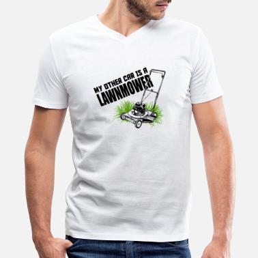 Belzebub LAWNMOWER - MY OTHER CAR IS A LAWNMOWER - Men's V-Neck T-Shirt by Canvas