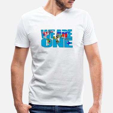 We are one - Men's V-Neck T-Shirt by Canvas