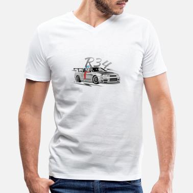 R34 r34 - Men's V-Neck T-Shirt by Canvas