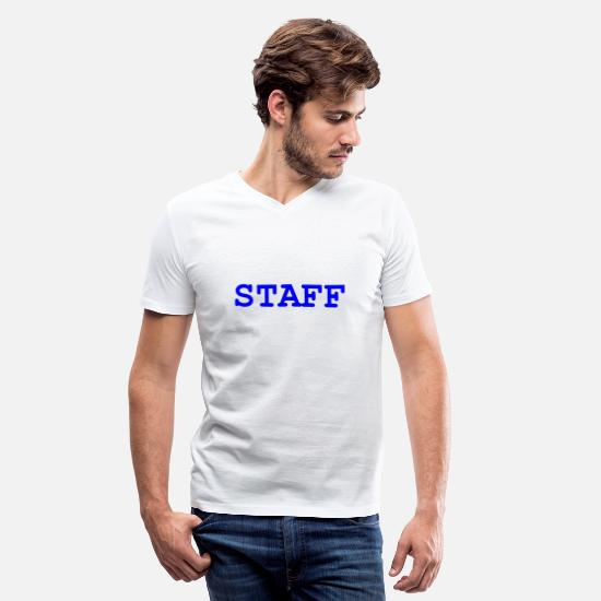 Staff T-Shirts - STAFF Text - Men's V-Neck T-Shirt white