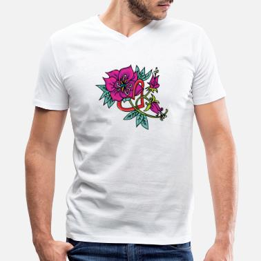 Thorn red_heart_and_purple_flower - Men's V-Neck T-Shirt
