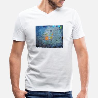 spreading blue square abstract - Men's V-Neck T-Shirt
