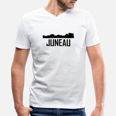 Juneau Ak Juneau Alaska City Skyline - Men's V-Neck T-Shirt by Canvas