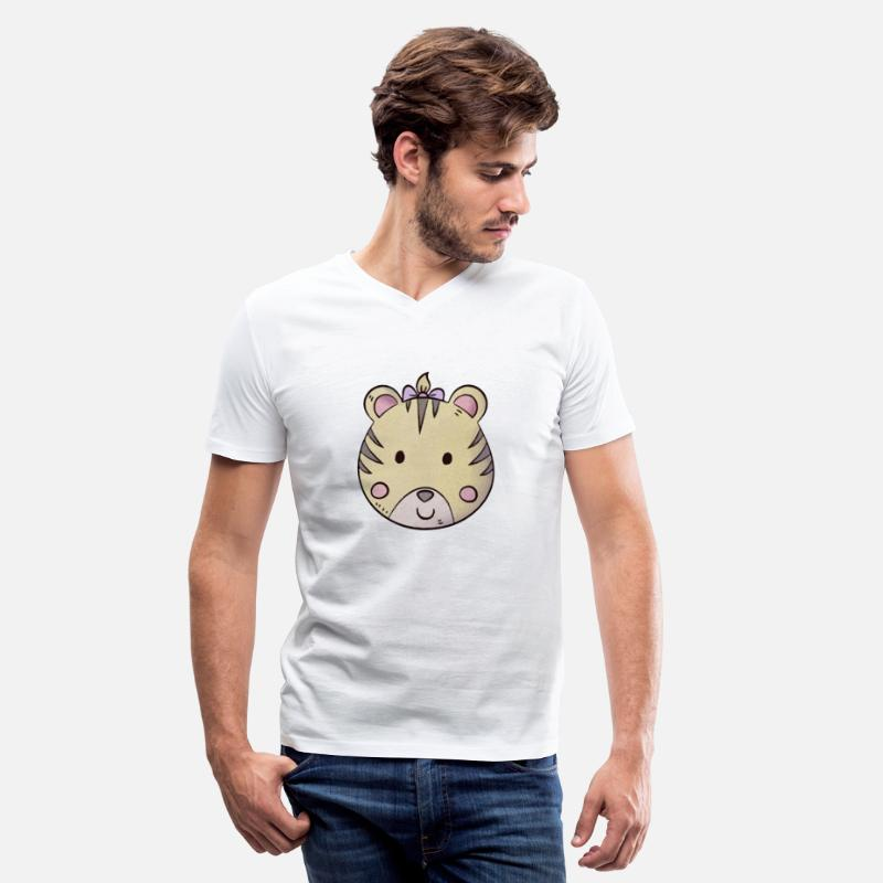 Cute Dog T-Shirts - Cute Baby Tiger - Men's V-Neck T-Shirt white