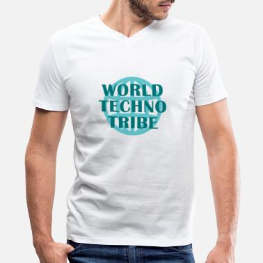 Musician World techno tribe music gift raving concert - Men's V-Neck T-Shirt