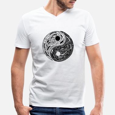 Buddhist yin yang - Men's V-Neck T-Shirt