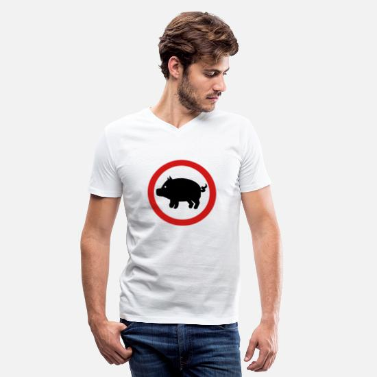 Career T-Shirts - Pig - Farmer - Men's V-Neck T-Shirt white