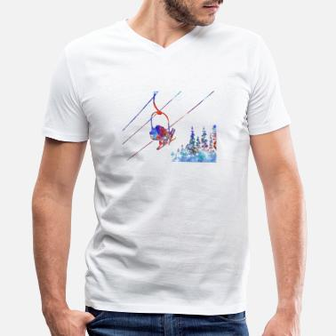 Ski Couple Couple ski lift, couple, ski sport, ski, skiing - Men's V-Neck T-Shirt