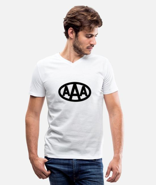 Aaa T-Shirts - AAA wdd logo - Men's V-Neck T-Shirt white
