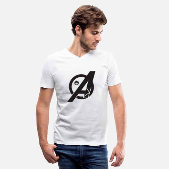 Lettering T-Shirts - Letter style A - Men's V-Neck T-Shirt white