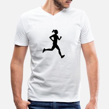 Girl Runner Girl Runner - Men's V-Neck T-Shirt