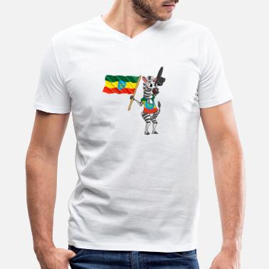 Ethiopian An Ethiopian Zebra - Men's V-Neck T-Shirt by Canvas