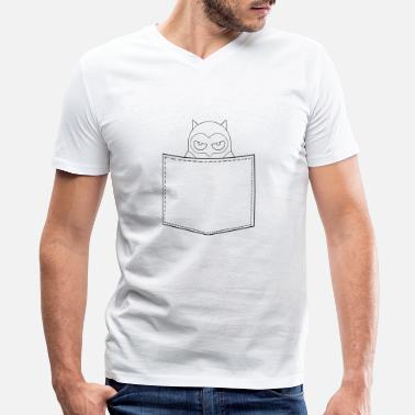 Outline Graphics Angry Owl Breast Pocket Outline Graphic - Men's V-Neck T-Shirt
