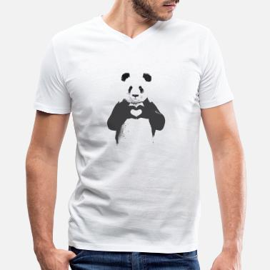 Panda Cartoon Cartoon panda - Men's V-Neck T-Shirt by Canvas