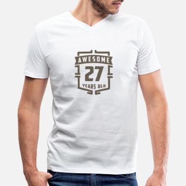 27 Years Old Awesome 27 Years Old - Men's V-Neck T-Shirt by Canvas
