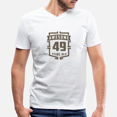 49 Years Old Awesome 49 Years Old - Men's V-Neck T-Shirt by Canvas