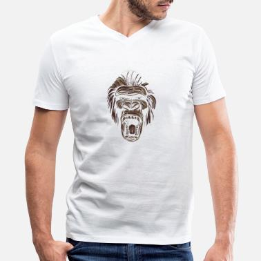 Ape Face Ape ape face - Men's V-Neck T-Shirt by Canvas