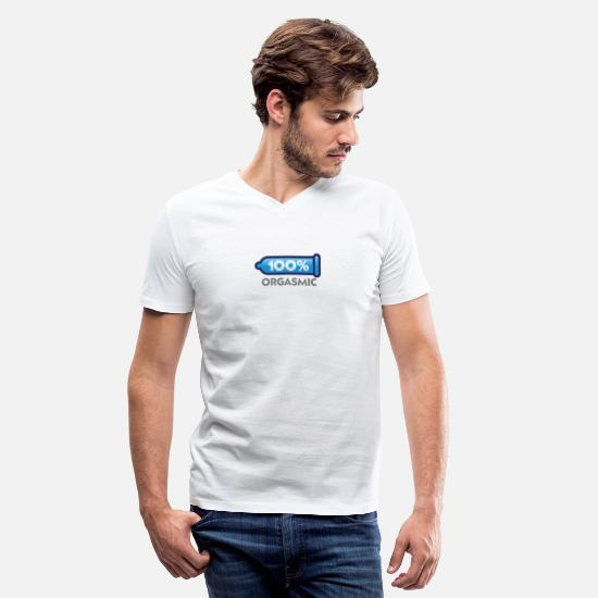 Climax T-Shirts - 100 Percent Orgasmic! - Men's V-Neck T-Shirt white
