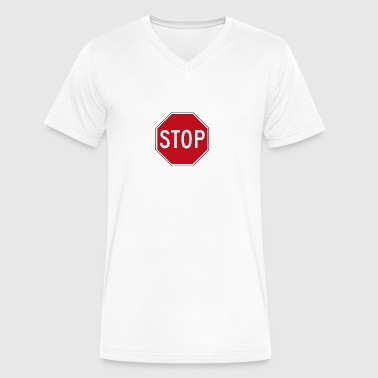 Stop - Men's V-Neck T-Shirt by Canvas