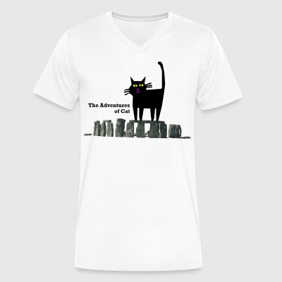 Cat at Stonehenge - Men's V-Neck T-Shirt by Canvas