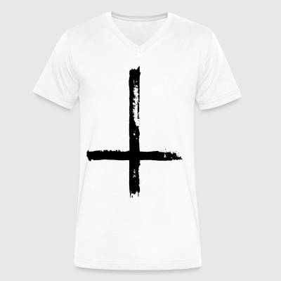 Large Black Satanic Cross - Men's V-Neck T-Shirt by Canvas