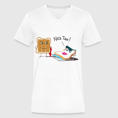 Tanning and Tanned Toast - Men's V-Neck T-Shirt by Canvas