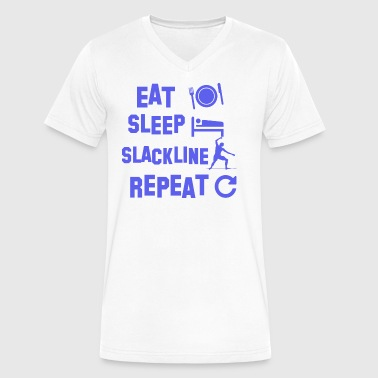 eatsleeplackline design - Men's V-Neck T-Shirt by Canvas