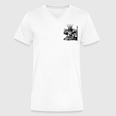 samurai fierce warrior - Men's V-Neck T-Shirt by Canvas