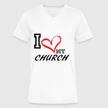 I_LOVE_MY_CHURCH - PLUS SIZE FIT - Men's V-Neck T-Shirt by Canvas