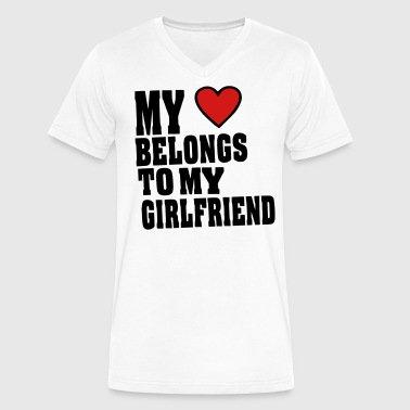 MY HEART BELONGS TO MY GIRLFRIEND - Men's V-Neck T-Shirt by Canvas