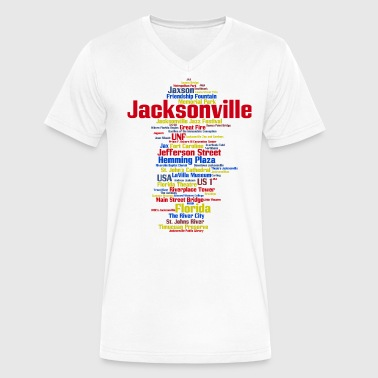Jacksonville (Florida, USA, The River City) - Men's V-Neck T-Shirt by Canvas