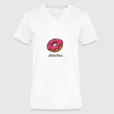 CF doughnut black writing - Men's V-Neck T-Shirt by Canvas