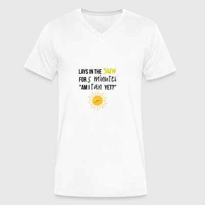 Lays in the sun for 5 minutes - Men's V-Neck T-Shirt by Canvas
