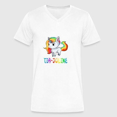 Tia-Joline Unicorn - Men's V-Neck T-Shirt by Canvas