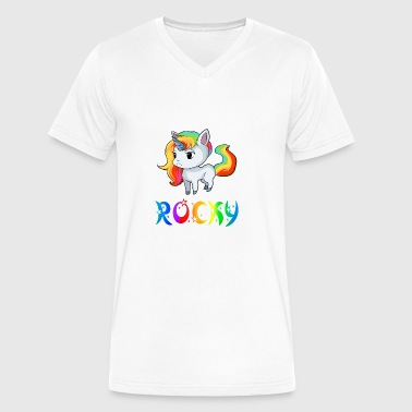 Rocky Unicorn - Men's V-Neck T-Shirt by Canvas