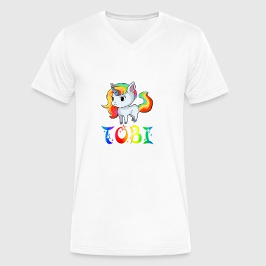 Tobi Unicorn - Men's V-Neck T-Shirt by Canvas