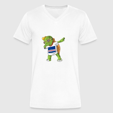 Cabo Verde Dabbing Turtle - Men's V-Neck T-Shirt by Canvas