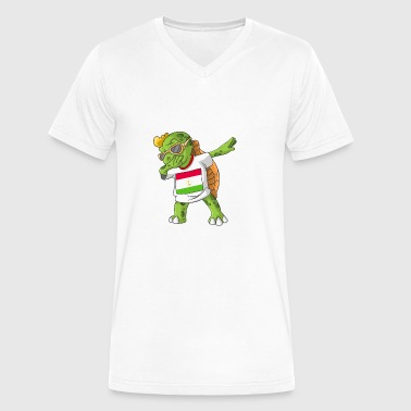Tajikistan Dabbing Turtle - Men's V-Neck T-Shirt by Canvas